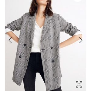Madewell oversized double-breasted plaid blazer